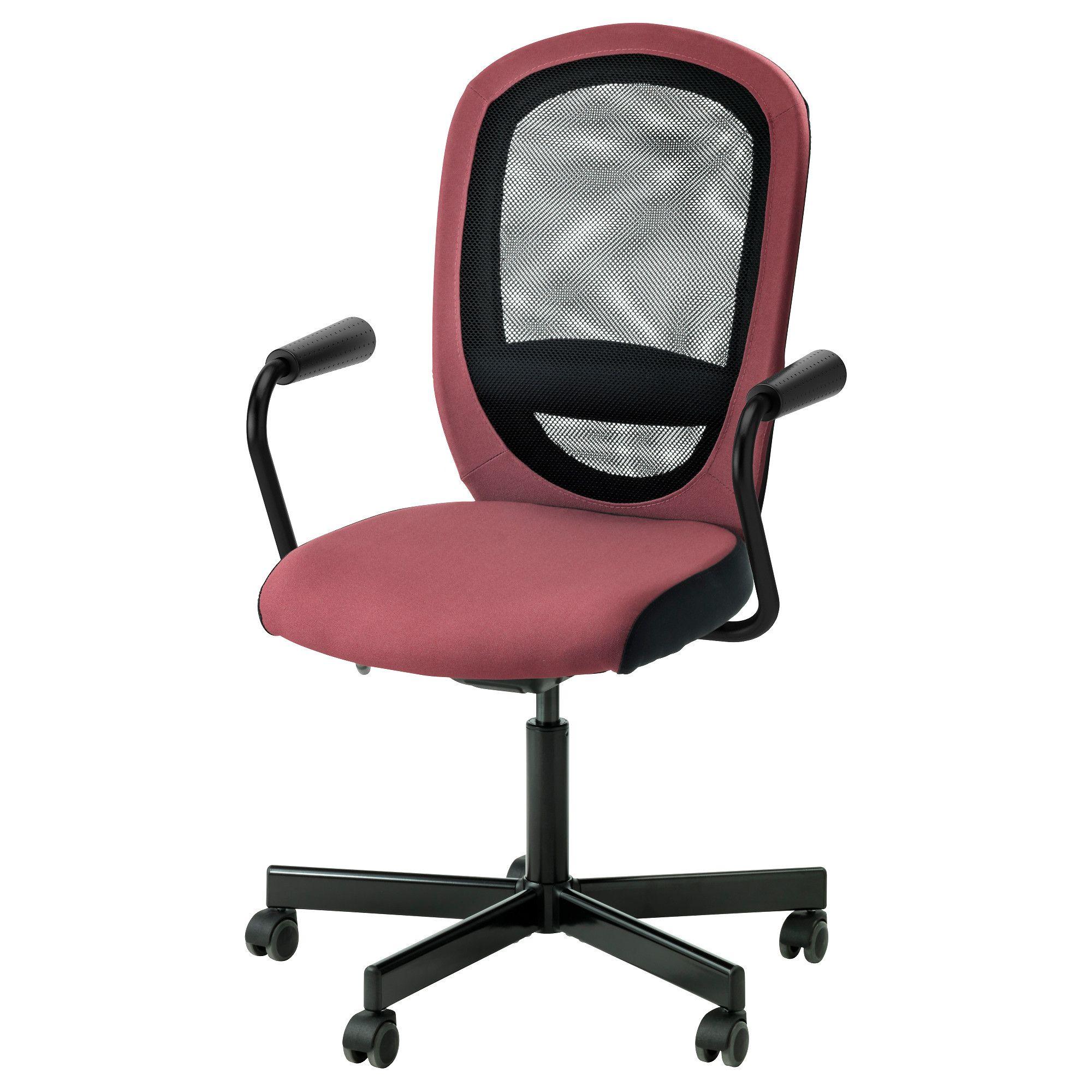 IKEA FLINTAN NOMINELL Chaise pivotante accoudoirs rose foncé