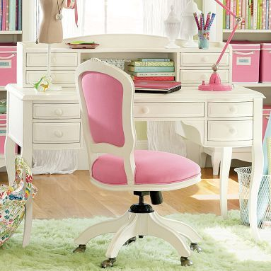 Girly Desks a cute pink girly office. with a feminine white desk and a white
