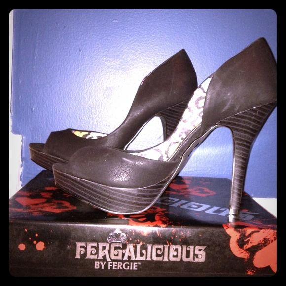 Fergie Open Toe Black Pumps These adorable open toe black pumps are brand new in box. They are a 7 1/2 and slightly too tight on me. Fergalicious Shoes Heels