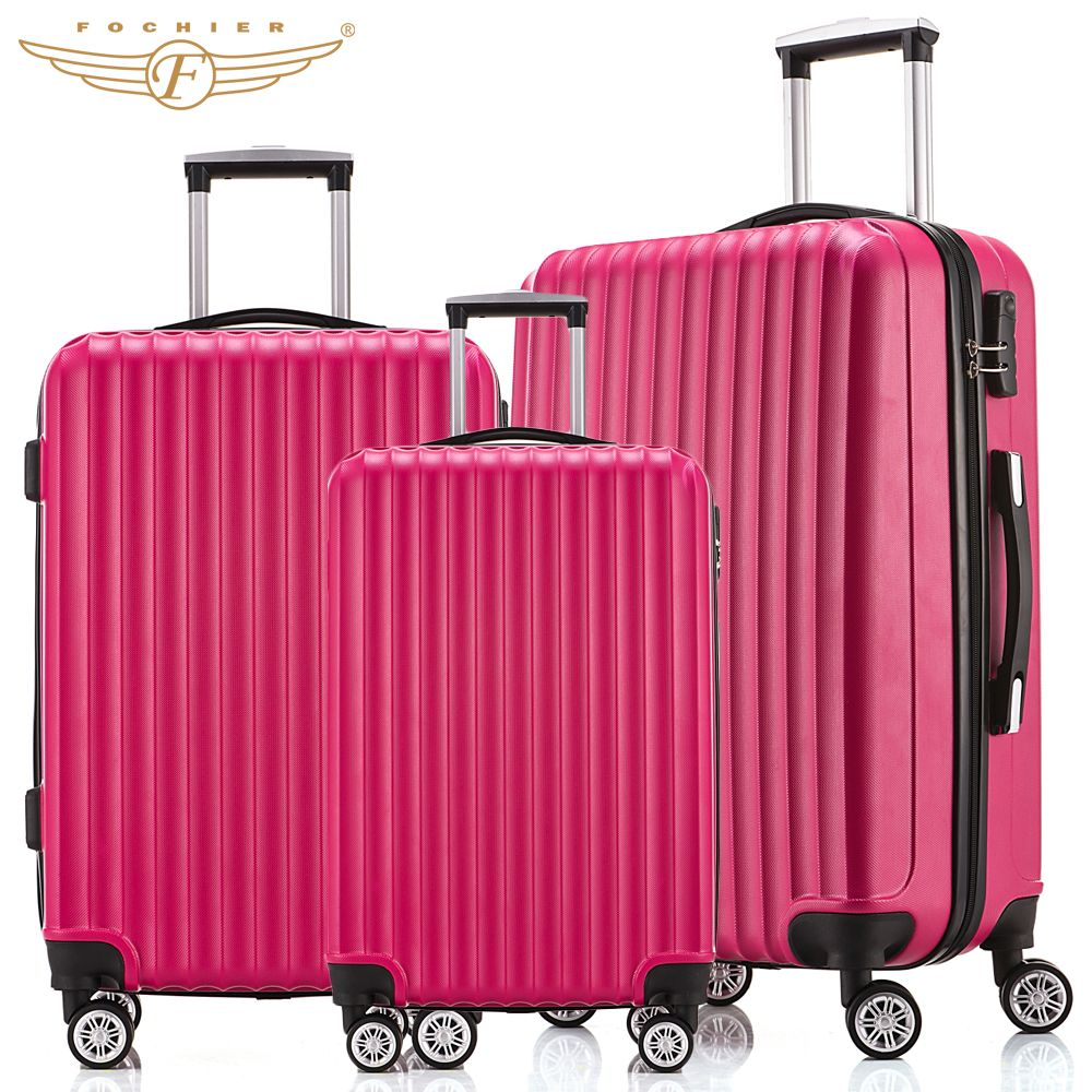 40493f43b NEW 3 Piece Hardside Travel Luggage Suitcase 20 24 28 Rolling Spinner 4  Wheels 4 Colors ABS Lightweight Fochier 3 pieces -- AliExpress BIG SALE on  Nov 11.