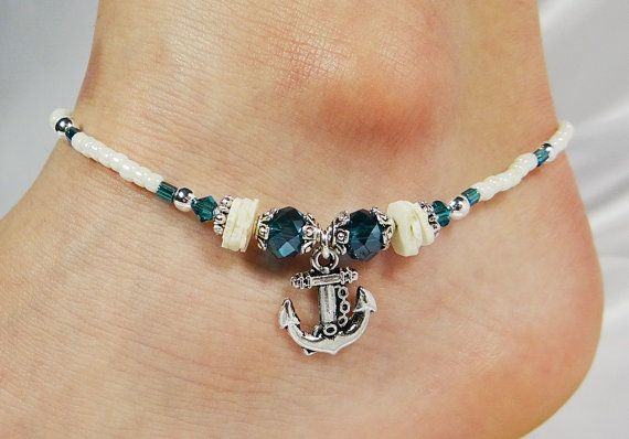 Anklet, Ankle Bracelet, Anchor Charm, Turquoise Blue Crystals, Ivory Sea Shell Chips, Beaded, Nautical, Beach, Ocean, Sailor Navy Naval Ship