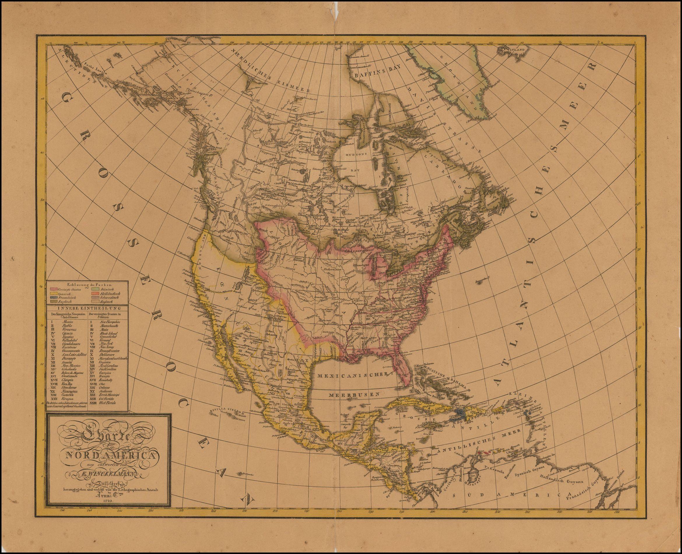 Charte von Nord America neu entworfen von E. Winckelmann . . . 1820