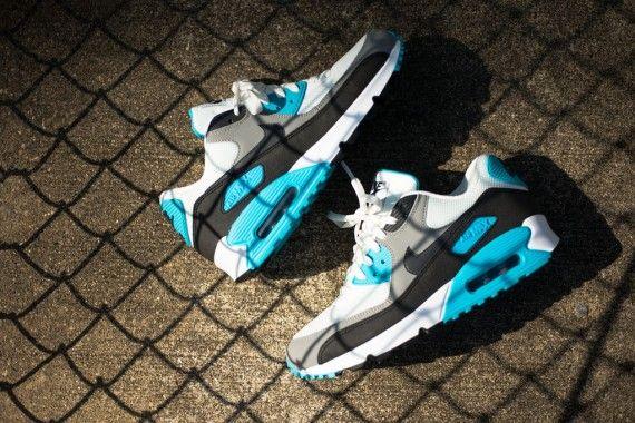 d68bb3a1d4 Nike Air Max 90 Essential- Summit Blue, White, Medium Grey, and Black
