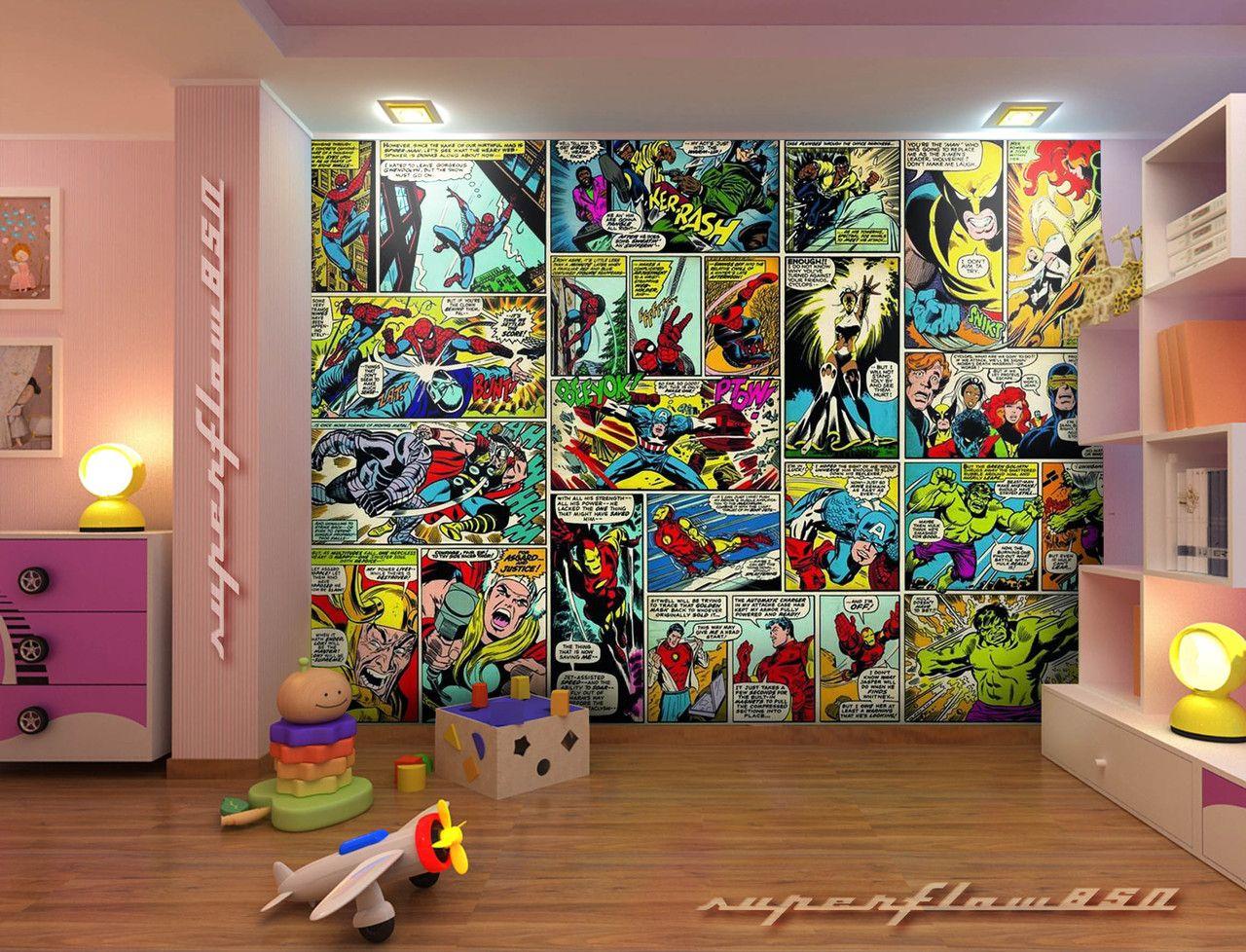 Marvel Bedroom What A Marvellous Wall Marvel Playroom Superhero Playroom