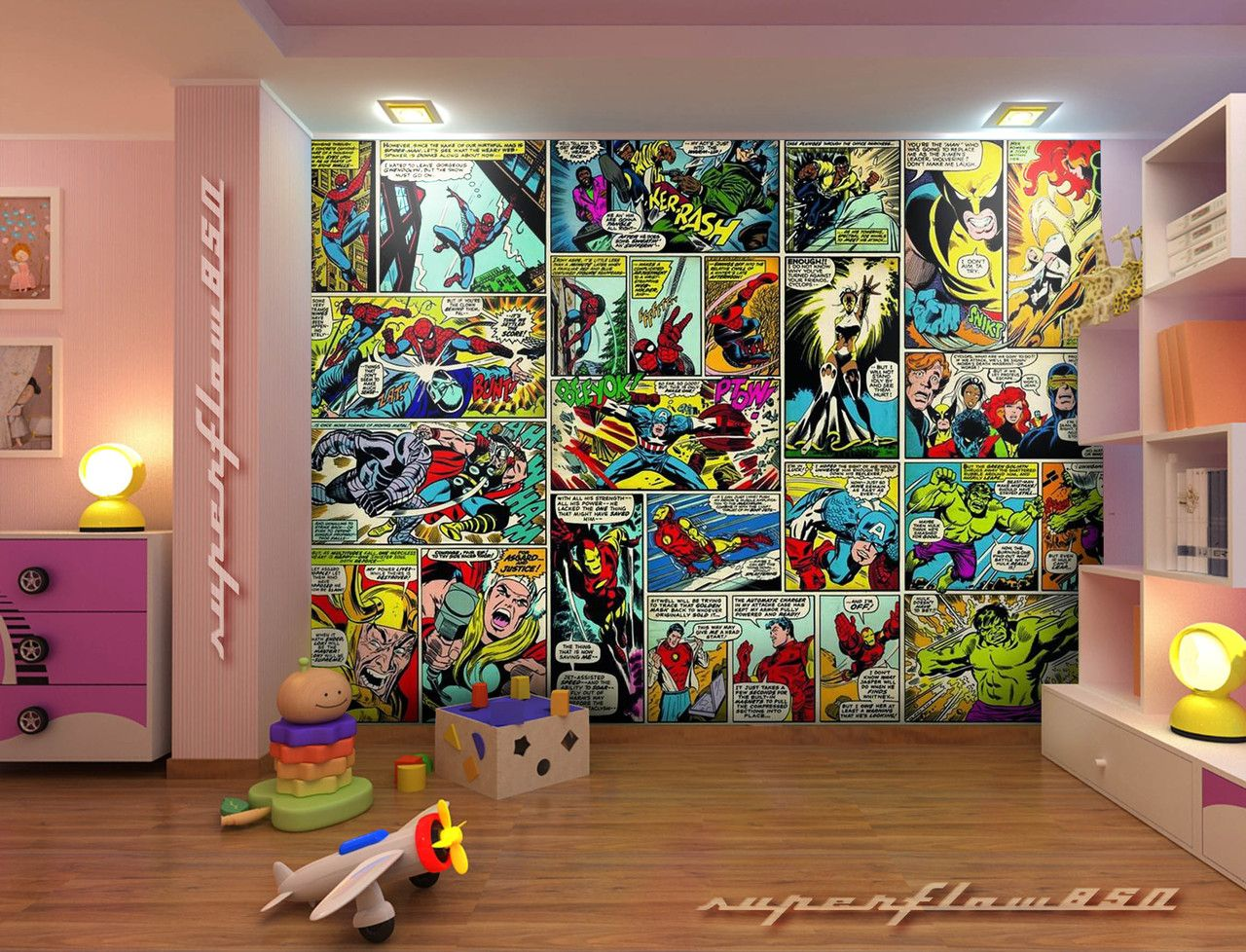 Marvel Wall Mural what a 'marvellous' wall. #marvel #playroom | superhero playroom