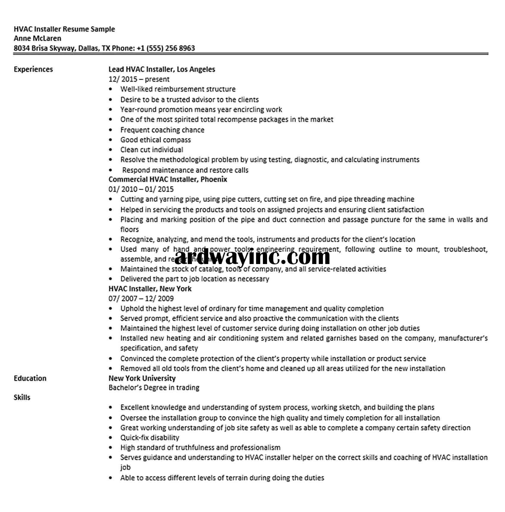 HVAC Installer Resume Sample in 2020 Hvac installation