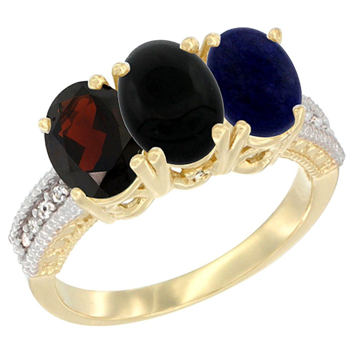 10K Yellow Gold Natural Garnet, Black Onyx and Lapis Ring 3-Stone Oval 7x5 mm Diamond Accent, sizes 5 - 10 ** Unbelievable  item right here! : Jewelry Ring Bands