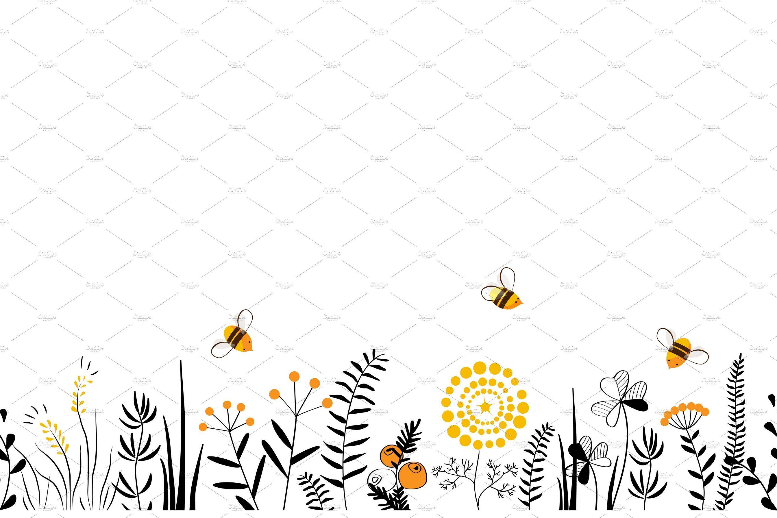 Honey Flowers Seamless Border Cartoon flowers, Flower