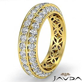 Trio Pave Round Diamond Wedding Womens Eternity Band 18k Gold Ring  (1.75Ct. tw.)