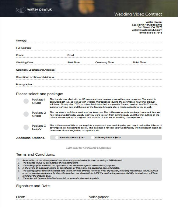 Videography Contract Template wedding videography contract template