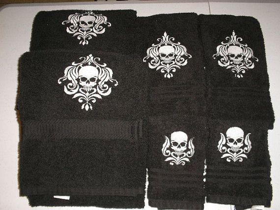 Skull Bathroom Towels Set Damask Skulls Embroidered More