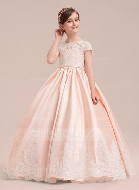 7d782d8568287 Ball Gown Floor-length Flower Girl Dress - Satin/Tulle/Lace Short Sleeves  Scoop Neck With Beading (Petticoat NOT included) (010143260) - Flower Girl  Dresses ...