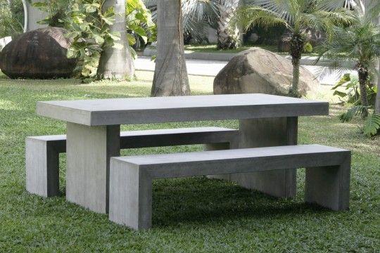 Captivating Ultra Lightweight Fiber Concrete Outdoor Table Bench