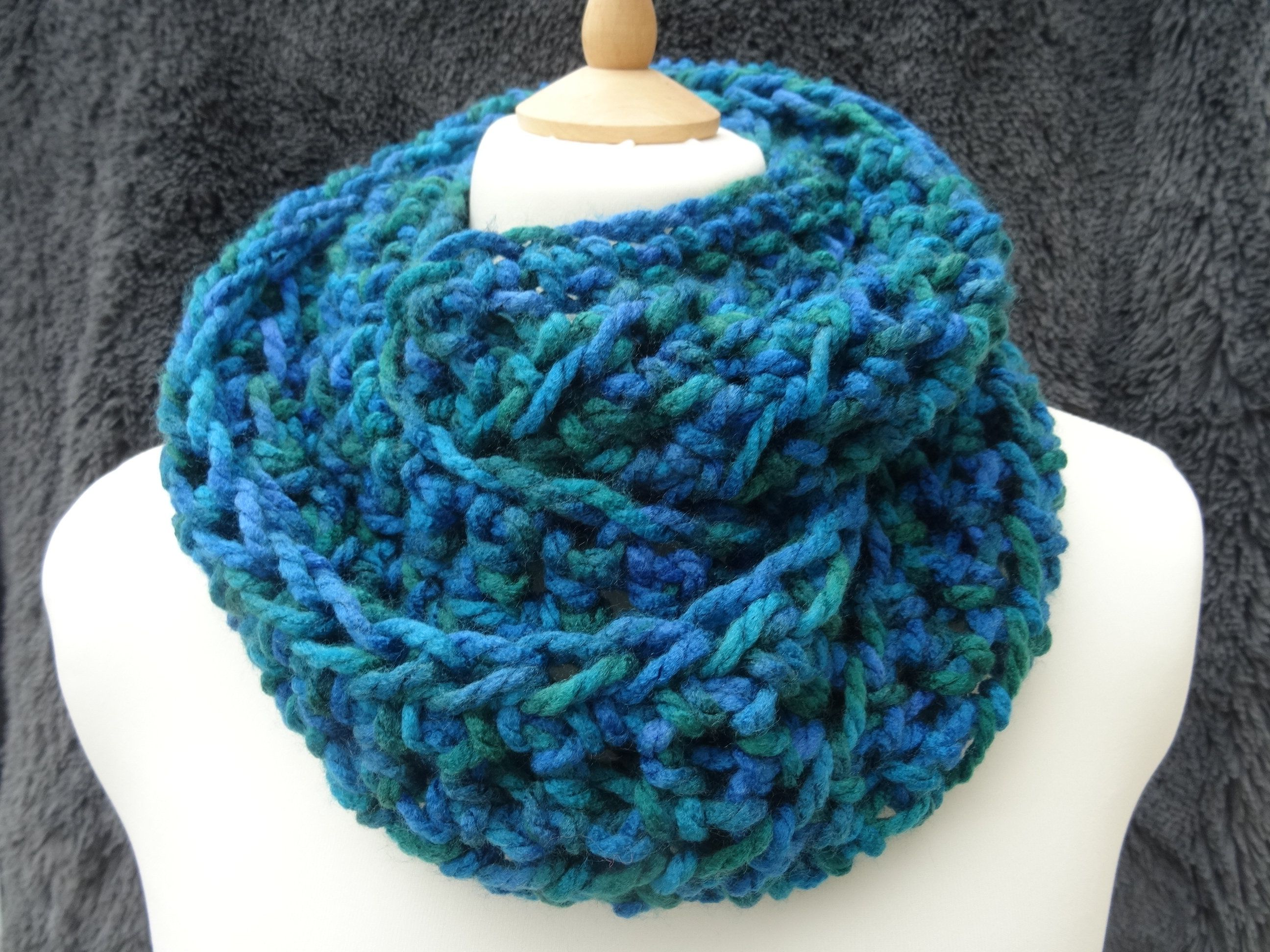 aqua snood infinity scarf hand crafted crochet mixed pinks chunky scarf
