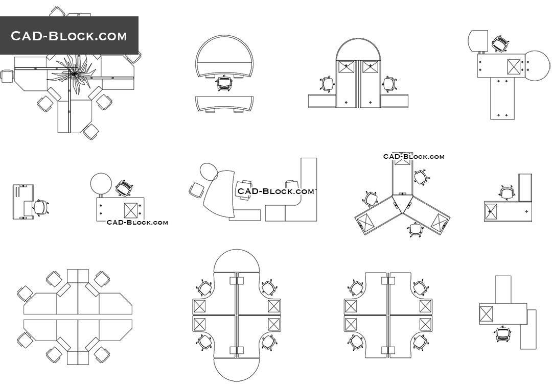Office plan free CAD drawings