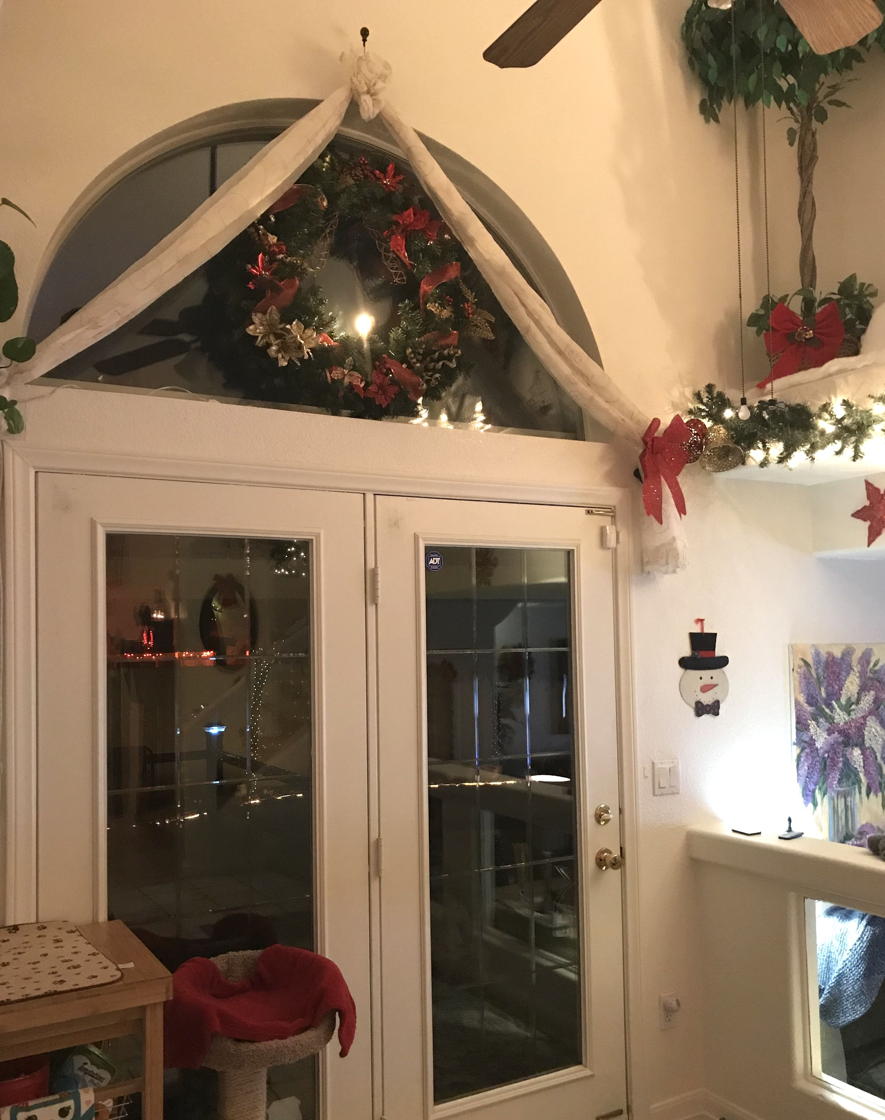 CHRISTMAS WREATH CURTAINS FRENCH DOORS