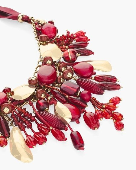 CHICO/'S RED AND GOLD-TONE BIB NECKLACE
