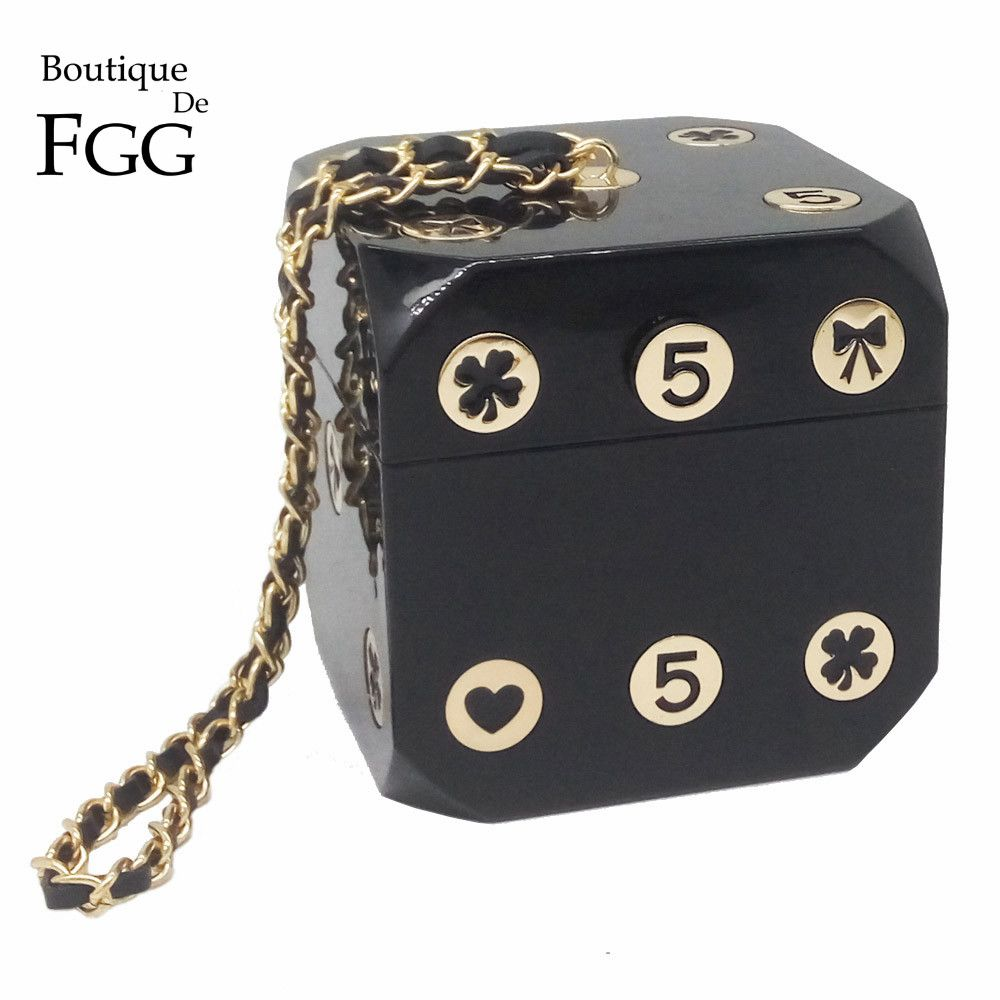 Famous Brand Mini Black Acrylic Dice Evening Clutches Bag Women Totes Party Dinner Hard Box Clutch Wristlets Handbag Purse