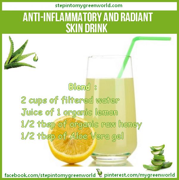 Anti Inflammatory Drink Made With Lemon Honey And Aloe Vera Gel Note Aloe Gel Must Come Straight From Plant Not Bot Aloe Vera Drink Skin Drinks Aloe Vera