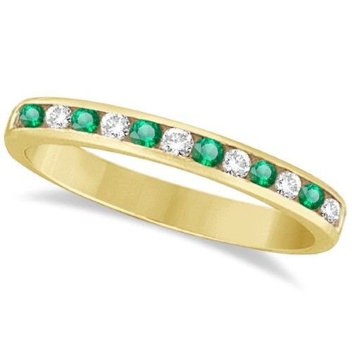 Angara Womens Square Emerald and Diamond Semi Eternity Band in Yellow Gold QofebPwRwp