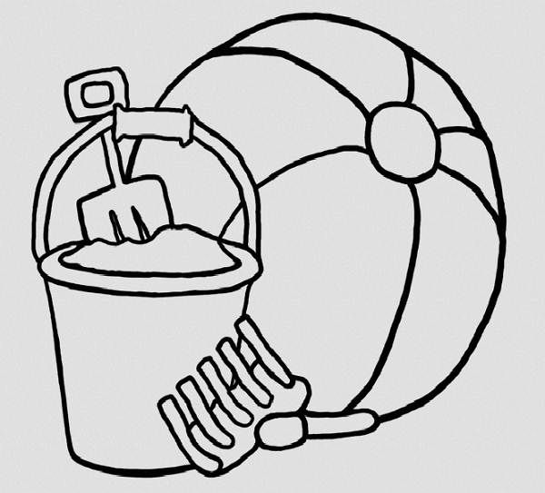 Sand Buckets Coloring Pages Sand Toys Coloring Pages 600x543px
