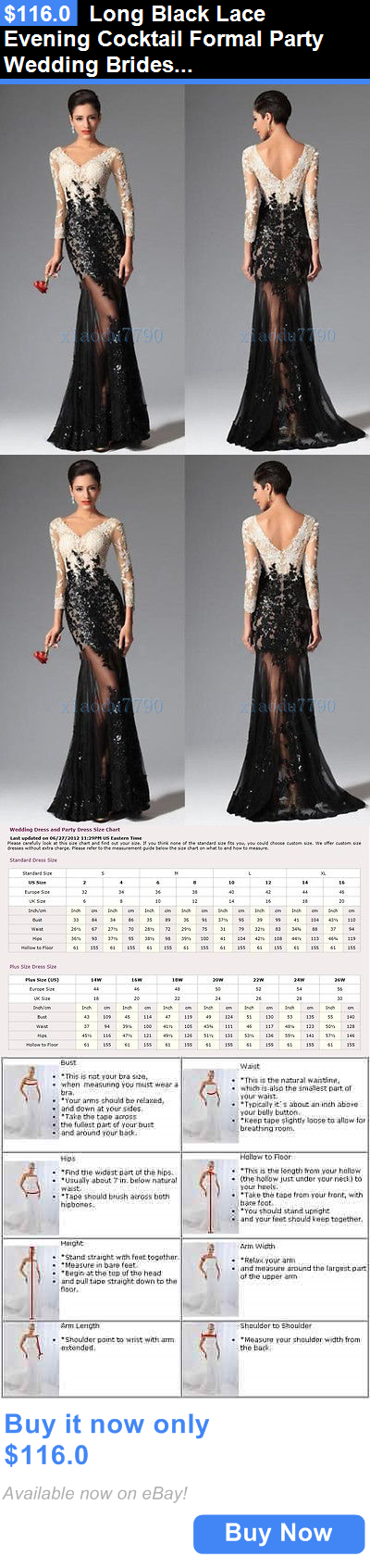 Prom And Formal Dresses: Long Black Lace Evening Cocktail Formal Party Wedding Bridesmaid Prom Gown Dress BUY IT NOW ONLY: $116.0