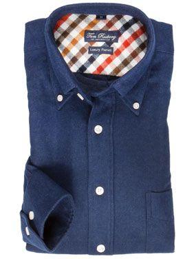 Tom Rusborg Flanellhemd mit Button Down Kragen grau – Hirmer Herrenmode