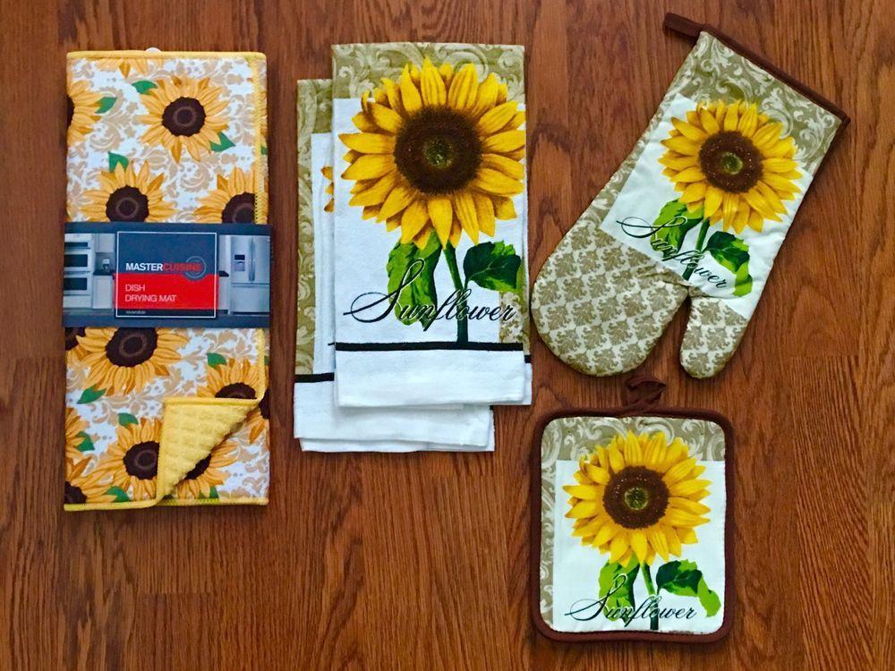 Sunflower Kitchen Decor Set W Dish Drying Mat Towels Potholder Oven Mitt New