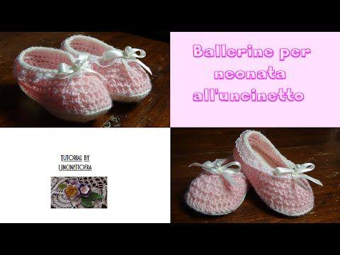 548a46c1218185 ballerine per neonata all'uncinetto tutorial - YouTube | scarpine ...