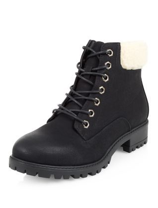 Black Shearling Trim Lace Up Boots | New Look