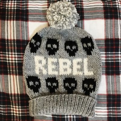 Fair isle pom pom ski hat // the rebel // heather grey, black ...