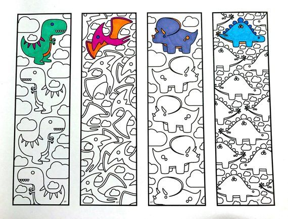 Cute Dinosaur Bookmarks - PDF Zentangle Coloring Page