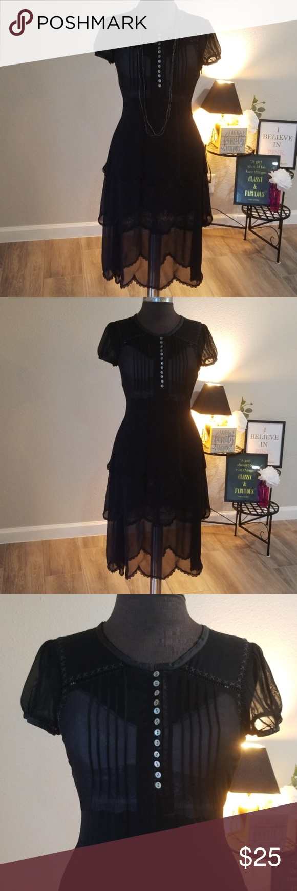 Anthropologie Maeve Babydoll Sheer Dress Sheer Dress Nice Black Dress Clothes Design [ 1740 x 580 Pixel ]