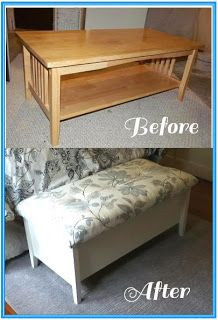 Refinished Coffee Table To Storage Bench Furniture Repurposed