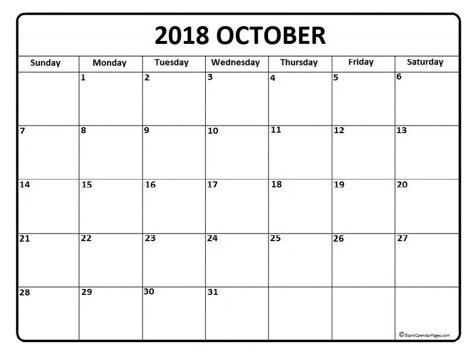 October Calendar Printable October Calendar  Printable