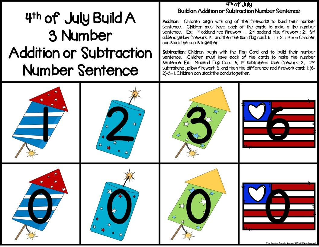 4th Of July Build A 3 Addend Addition Or Subtraction