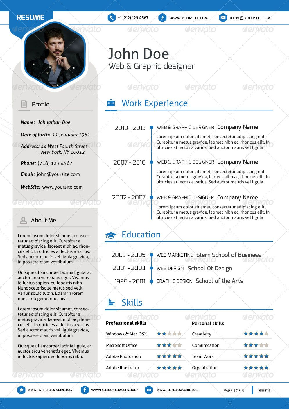 Impressive Professional Resume Template  Resume Template Designs