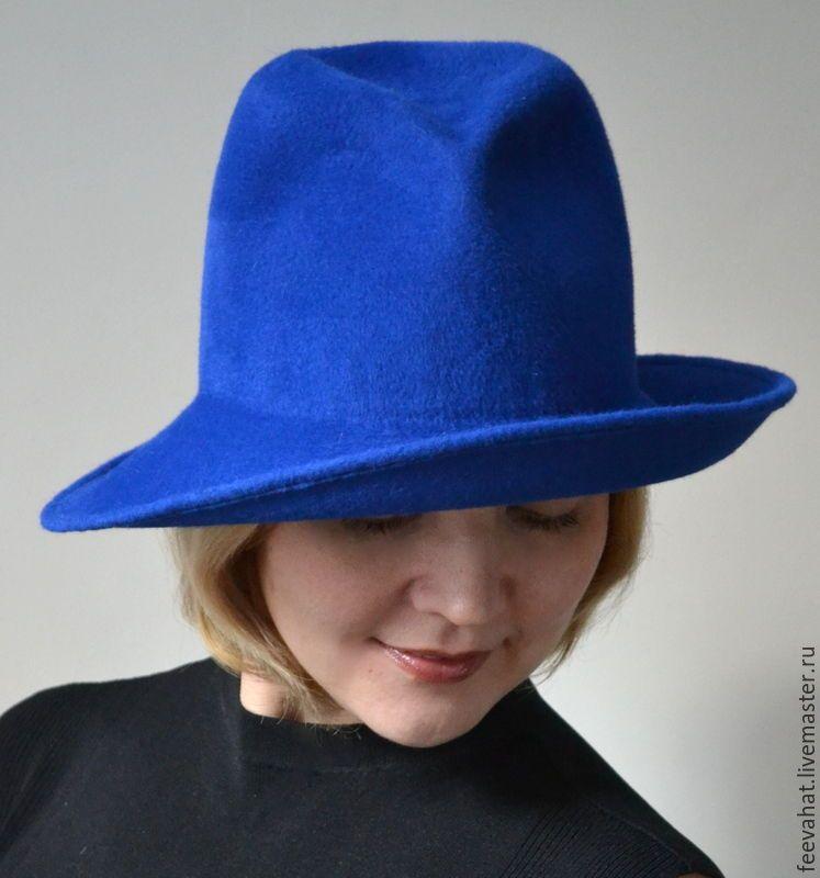 Купить Шляпа ярко синяя велюр с широкими ассиметричными полями - тёмно-синий, однотонный