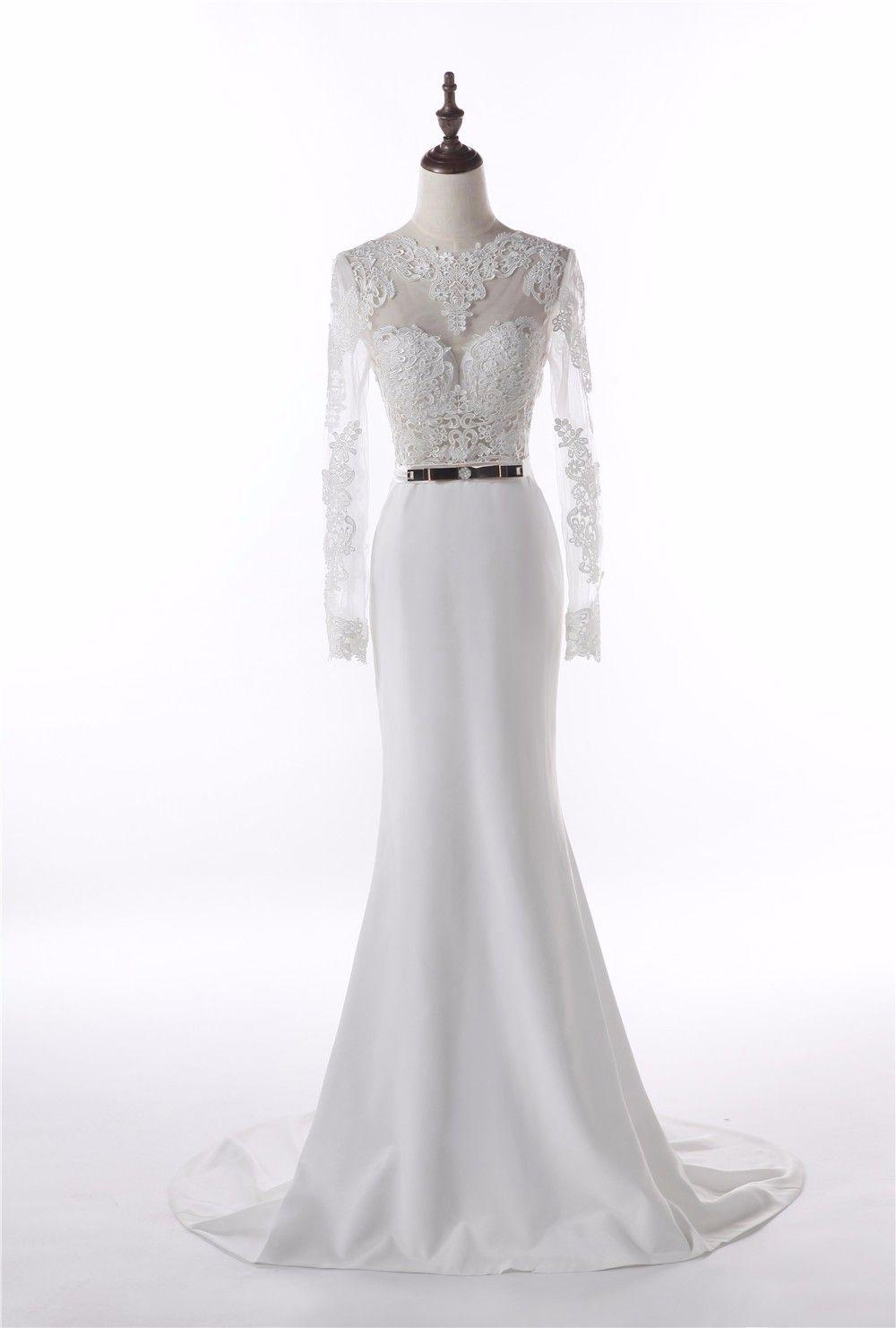Elegant appliqued long sleeve floorlength wedding dress wedding