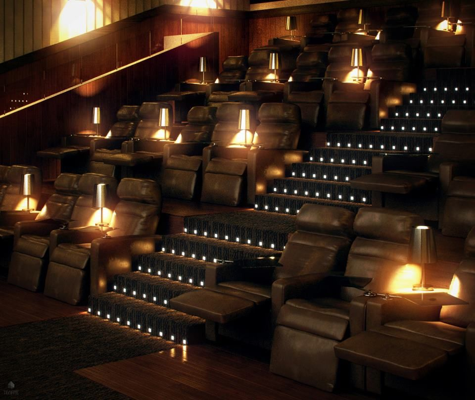 Home cinema stadium seating decor home theater rooms - Home theater stadium seating design ...