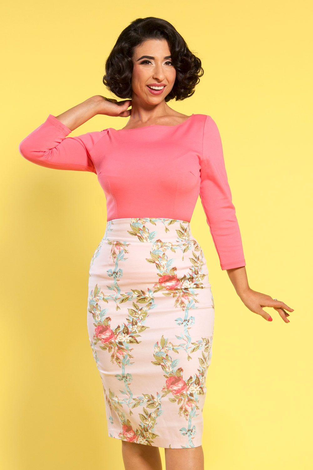 Laura Byrnes California High Waisted Pencil Skirt in Pink Floral ...