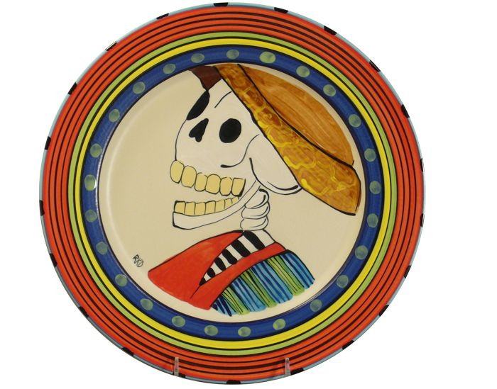 "MADE IN USA..12.75"" Happy Skeleton Plate (red shirt)"