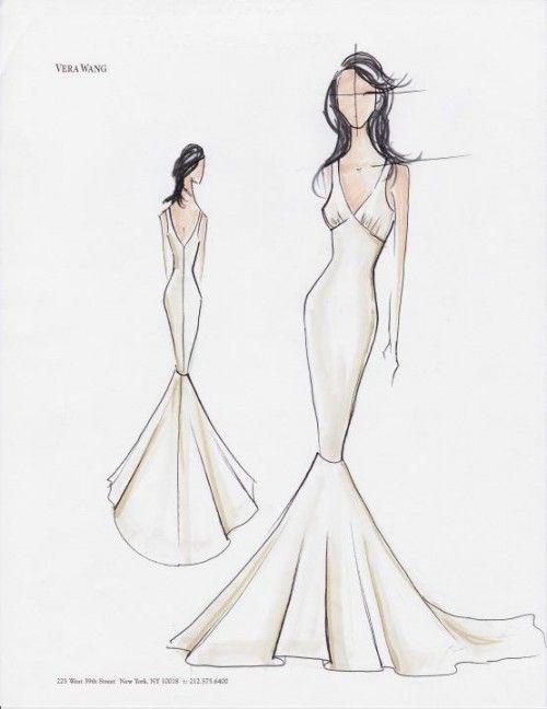 vestido de novia en boceto con estilo minimalista y elegante - foto