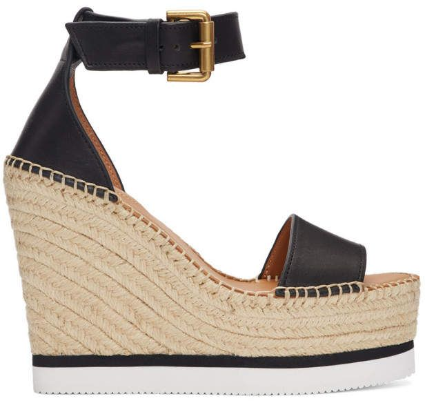 7e4abb424a6 See by Chloe Black Glyn Wedge Sandals | Products in 2019 | Sandals ...