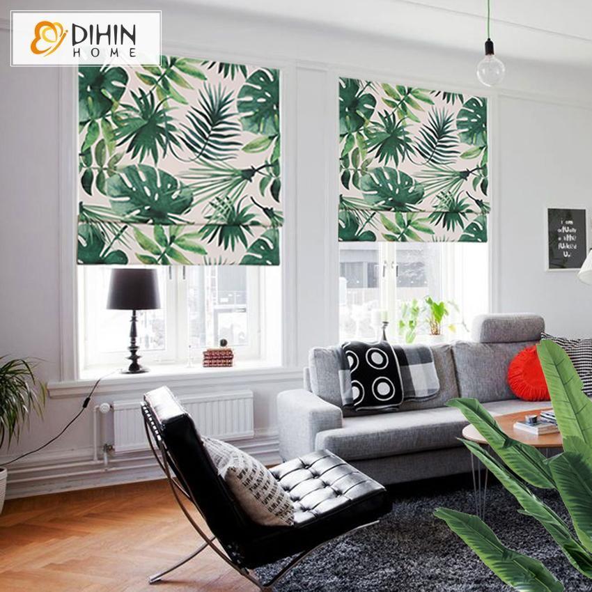 DIHIN HOME Pastoral Banana Tree Printed Roman Shades ,Easy