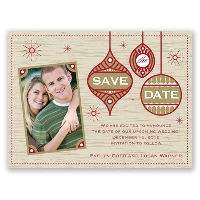 Retro style holiday card save the date choose your color and paper stock including