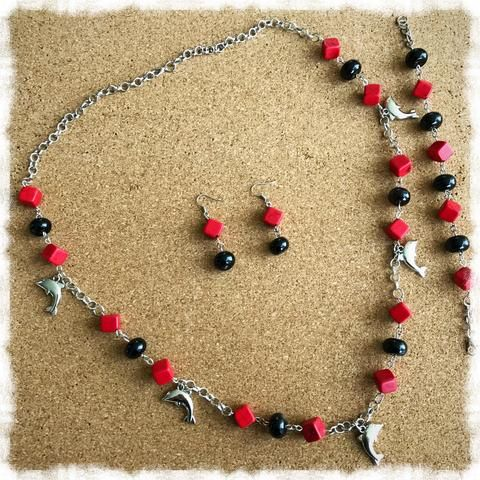 Fine Jewelry Sets Beautiful Black Howlite Earrings And Necklace