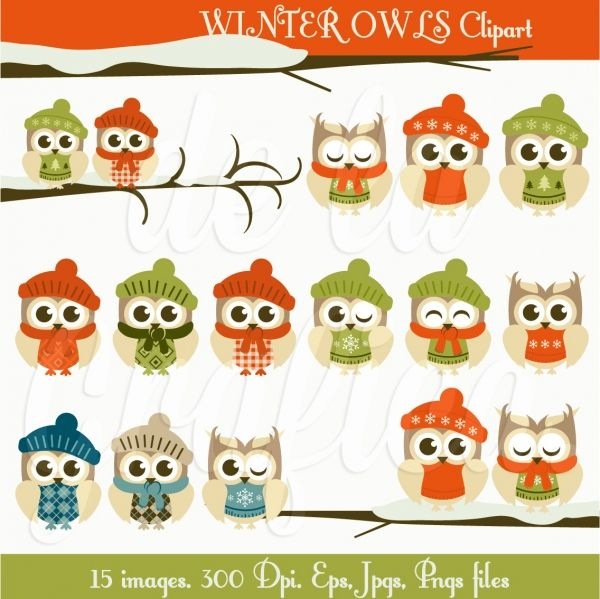 Winter Owls Clipart This Digital Sheet Is Ideal Christmas Invitations Christmas Gifts Cards Web Design Graphic Design Owl Clip Art Clip Art Art Clipart