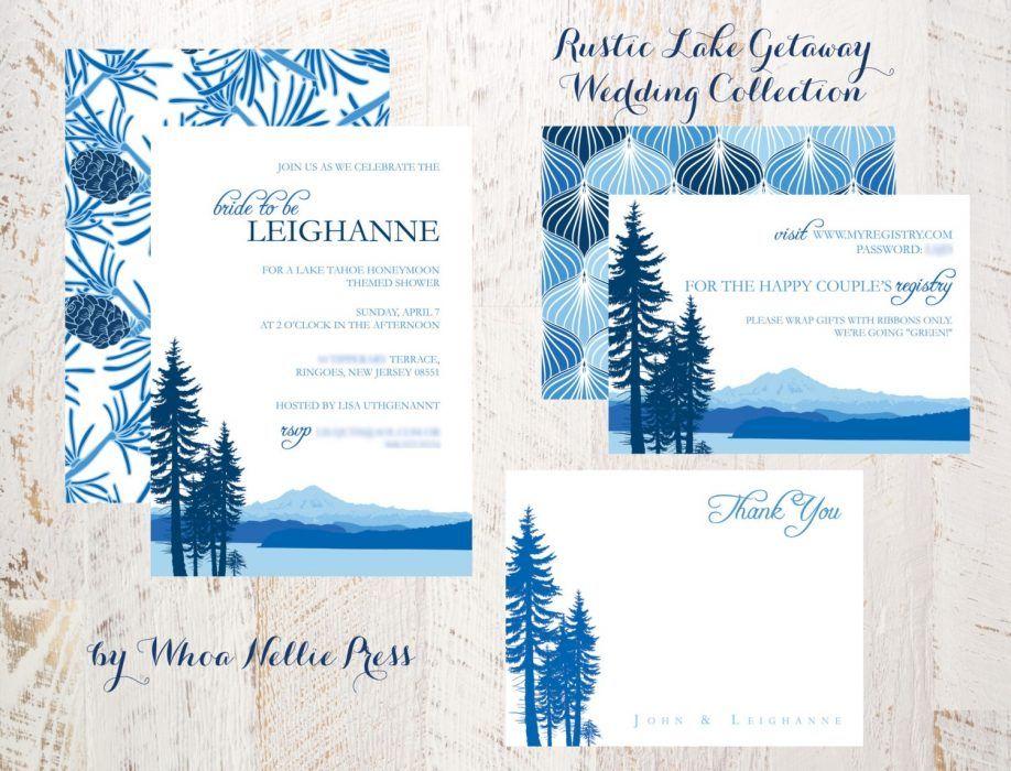 Invitations Card Lake Tahoe Themed Wedding Lakeside District