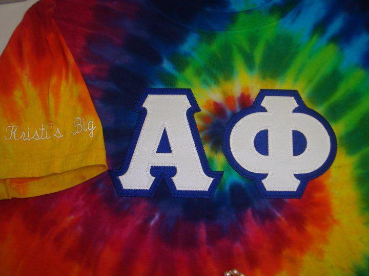 alpha phi tie dye letters letter shirts